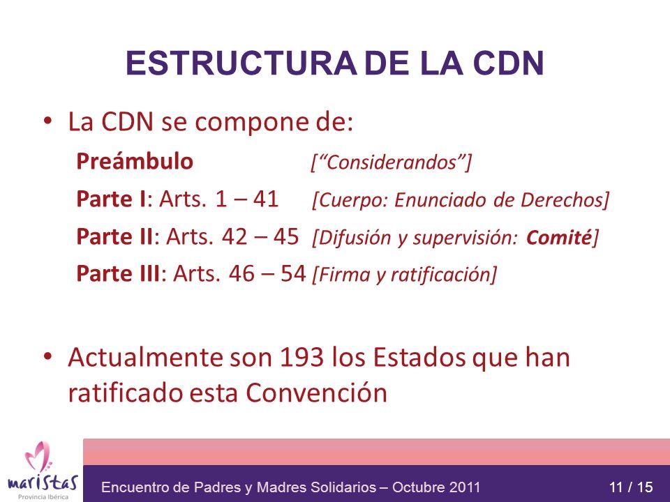 Encuentro de Padres y Madres Solidarios – Octubre 2011 ESTRUCTURA DE LA CDN La CDN se compone de: Preámbulo [Considerandos] Parte I: Arts. 1 – 41 [Cue