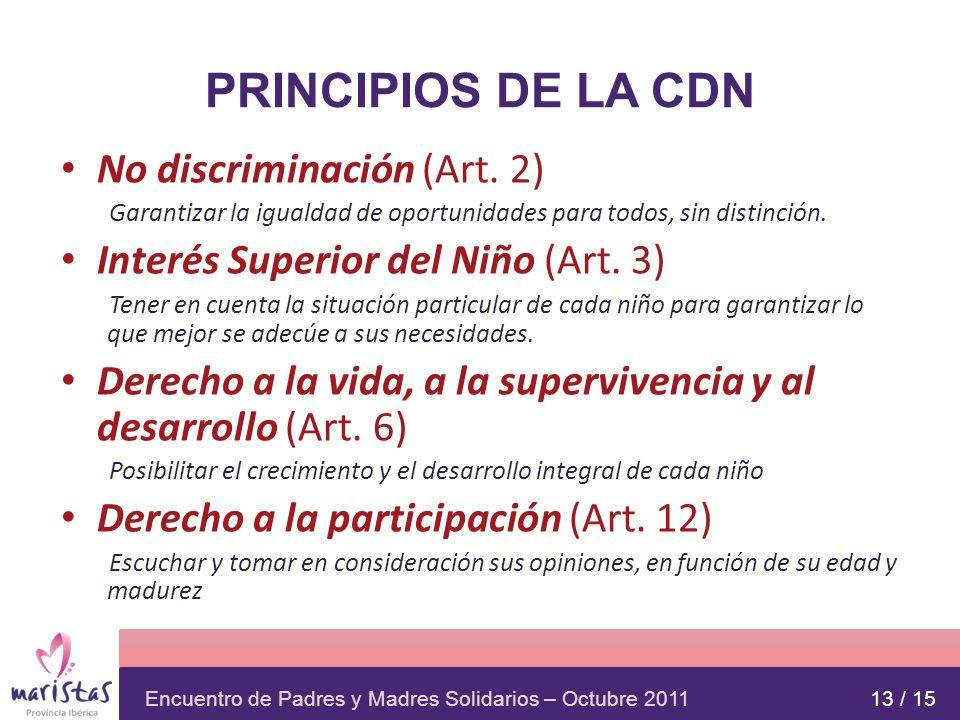 Encuentro de Padres y Madres Solidarios – Octubre 2011 PRINCIPIOS DE LA CDN No discriminación (Art. 2) Garantizar la igualdad de oportunidades para to