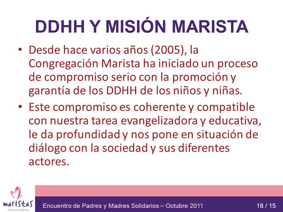 Encuentro de Padres y Madres Solidarios – Octubre 2011 DDHH Y MISIÓN MARISTA Desde hace varios años (2005), la Congregación Marista ha iniciado un pro