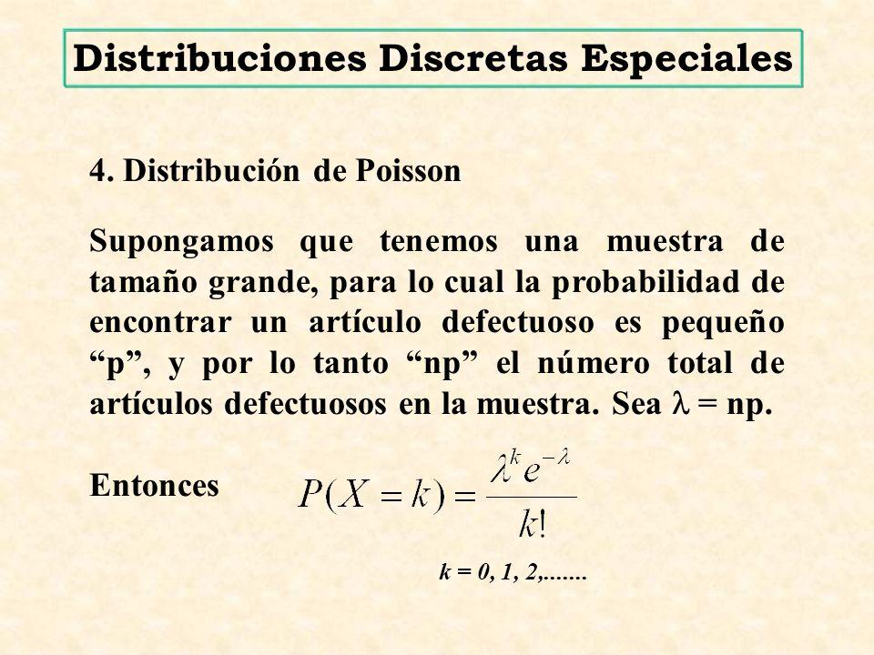 4. Distribución de Poisson Supongamos que tenemos una muestra de tamaño grande, para lo cual la probabilidad de encontrar un artículo defectuoso es pe