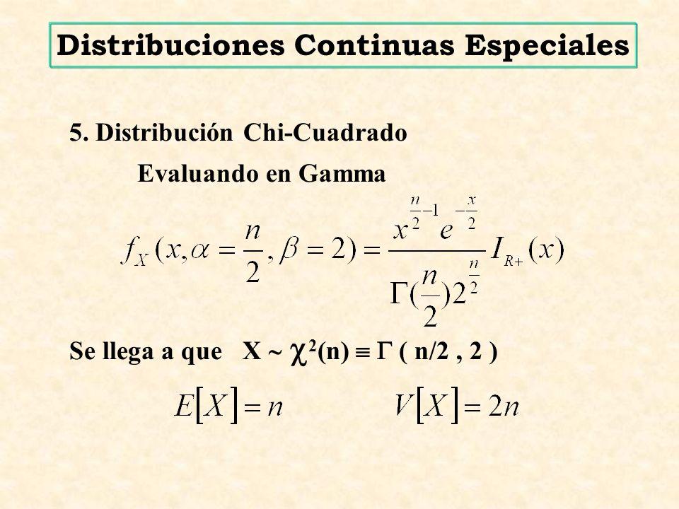 5. Distribución Chi-Cuadrado Evaluando en Gamma Se llega a que X 2 (n) ( n/2, 2 ) Distribuciones Continuas Especiales