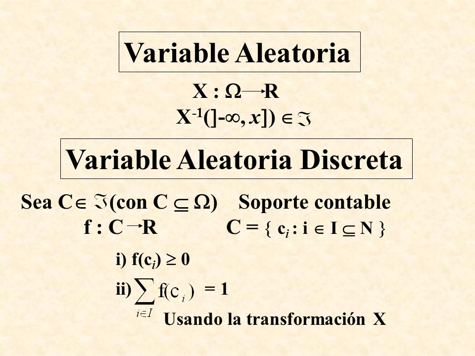 Variable Aleatoria X : R X -1 ( -, x ) Variable Aleatoria Discreta Sea C (con C ) Soporte contable f : C RC = c i : i I N i) f(c i ) 0 ii) = 1 Usando
