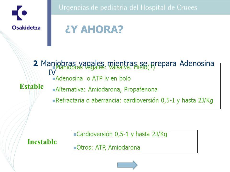 2 Maniobras vagales mientras se prepara Adenosina IV Maniobras vagales: Valsalva. Hielo(?) Adenosina o ATP iv en bolo Alternativa: Amiodarona, Propafe