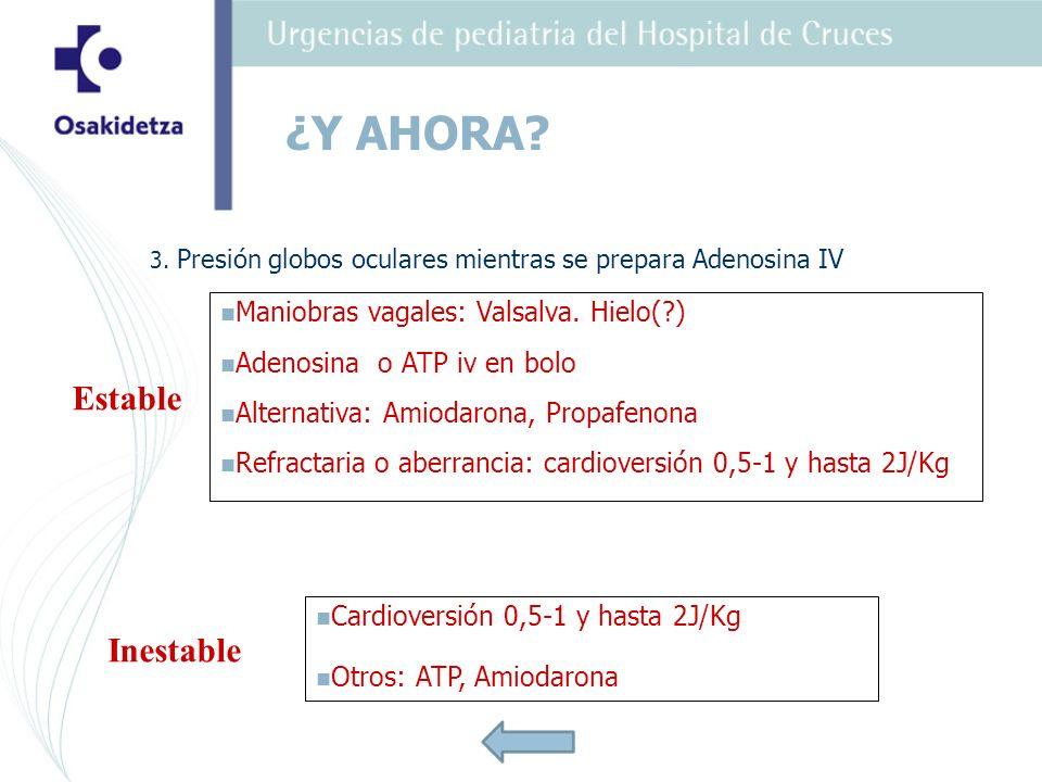 3. Presión globos oculares mientras se prepara Adenosina IV Maniobras vagales: Valsalva. Hielo(?) Adenosina o ATP iv en bolo Alternativa: Amiodarona,