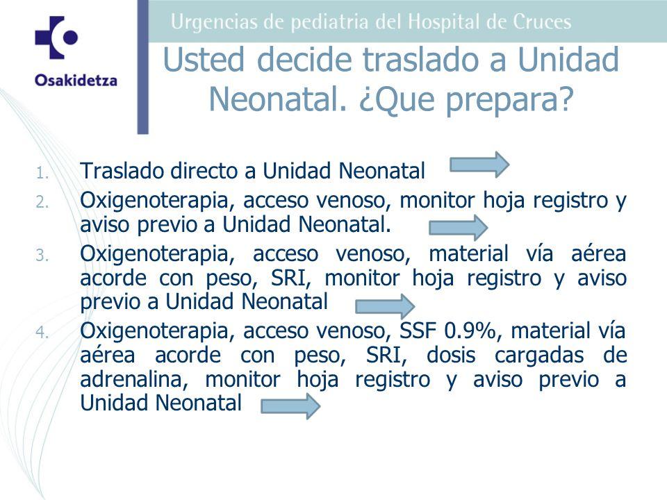 Usted decide traslado a Unidad Neonatal. ¿Que prepara? 1. 1. Traslado directo a Unidad Neonatal 2. 2. Oxigenoterapia, acceso venoso, monitor hoja regi