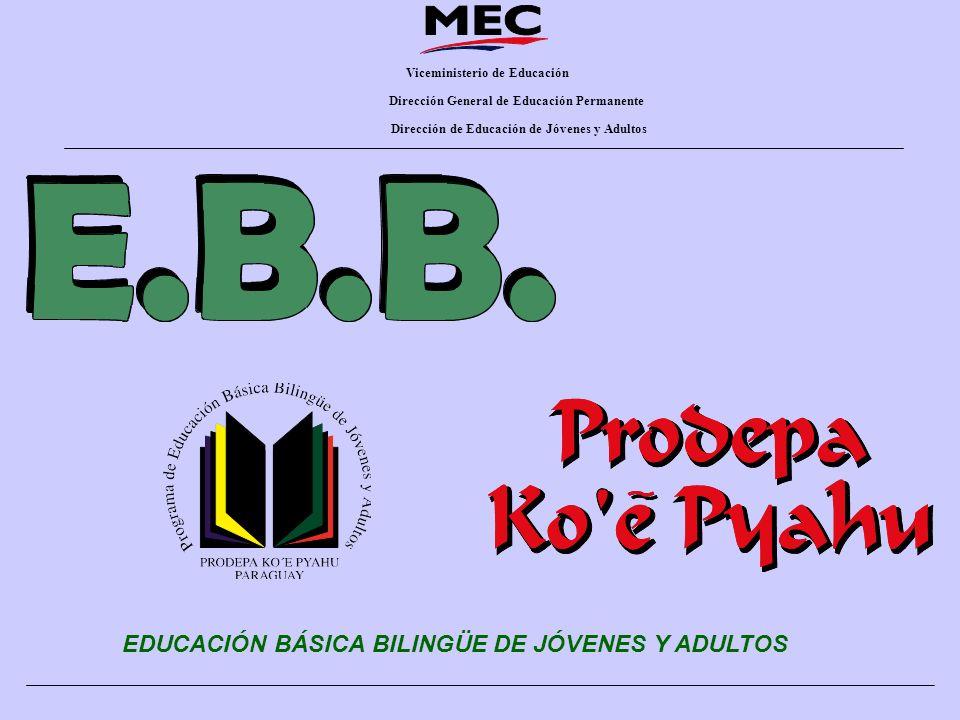 Viceministerio de Educación Dirección General de Educación Permanente Dirección de Educación de Jóvenes y Adultos EDUCACIÓN BÁSICA BILINGÜE DE JÓVENES