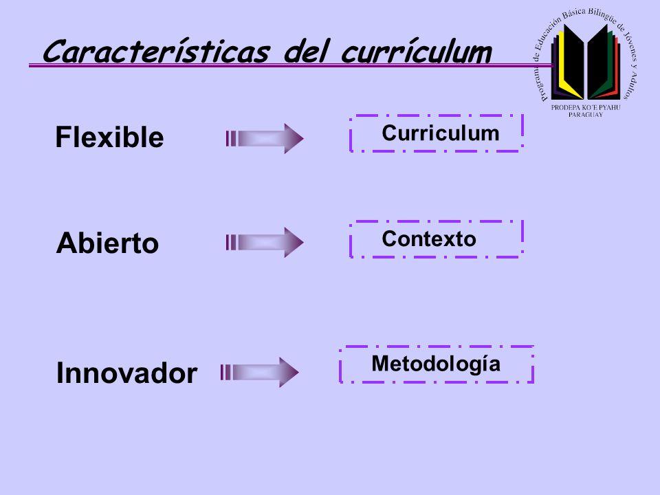 Características del currículum Flexible Curriculum Abierto Contexto Metodología Innovador