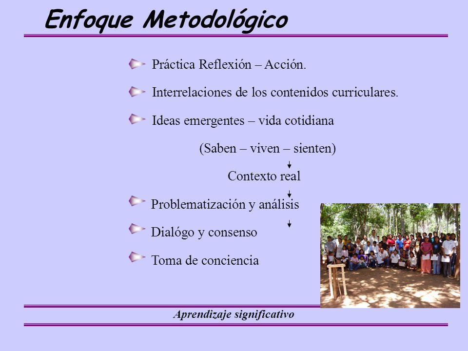 Aprendizaje significativo Enfoque Metodológico Práctica Reflexión – Acción.