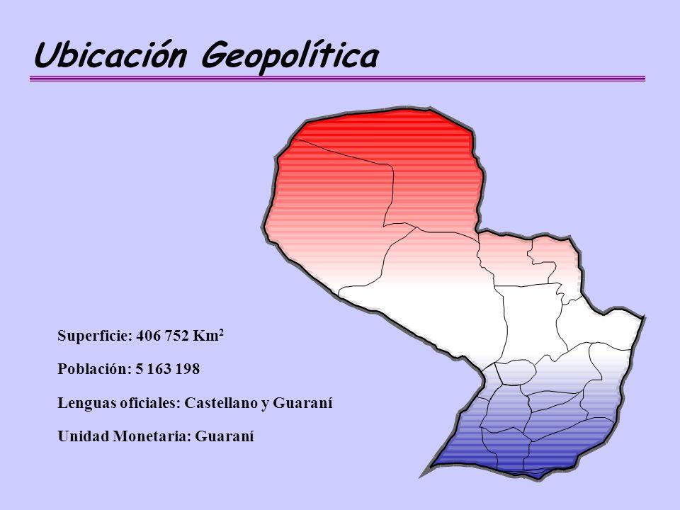 Ubicación Geopolítica Superficie: 406 752 Km 2 Población: 5 163 198 Lenguas oficiales: Castellano y Guaraní Unidad Monetaria: Guaraní