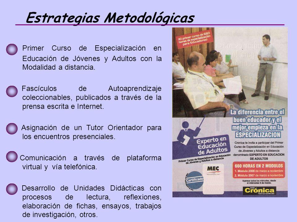 Primer Curso de Especialización en Educación de Jóvenes y Adultos con la Modalidad a distancia.