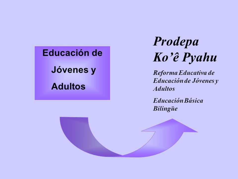Educación de Jóvenes y Adultos Prodepa Koê Pyahu Reforma Educativa de Educación de Jóvenes y Adultos Educación Básica Bilingüe