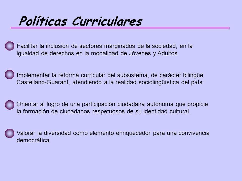 Políticas Curriculares Facilitar la inclusión de sectores marginados de la sociedad, en la igualdad de derechos en la modalidad de Jóvenes y Adultos.