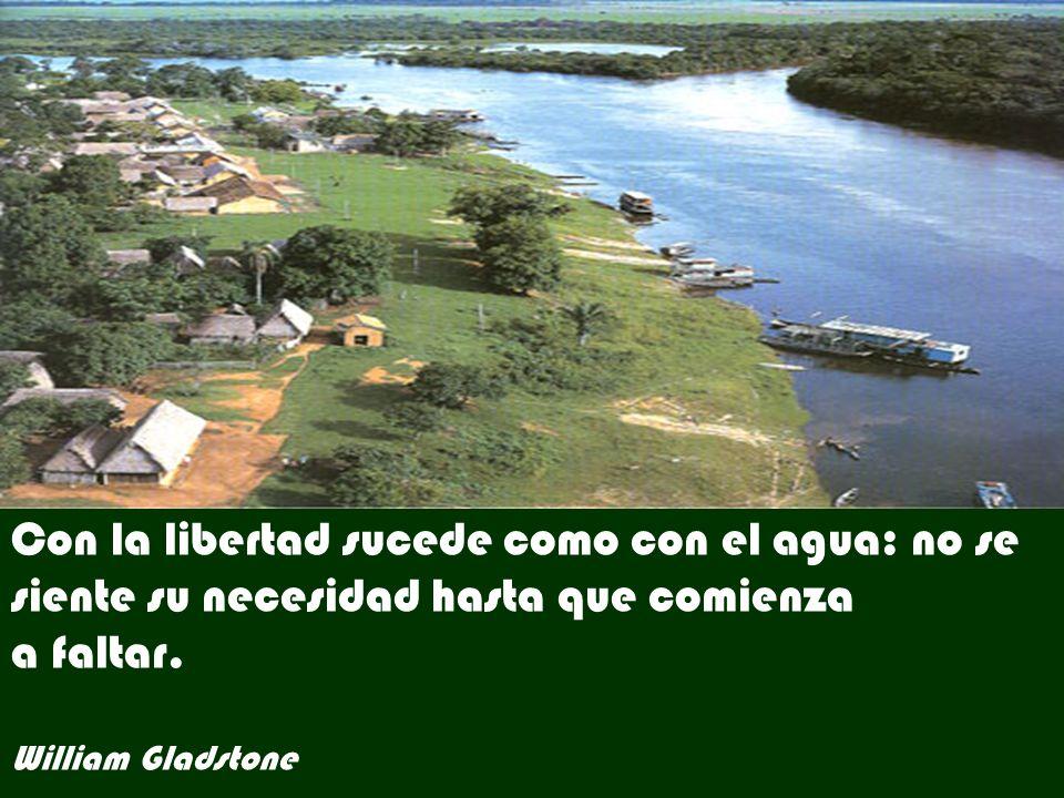 Con la libertad sucede como con el agua: no se siente su necesidad hasta que comienza a faltar.