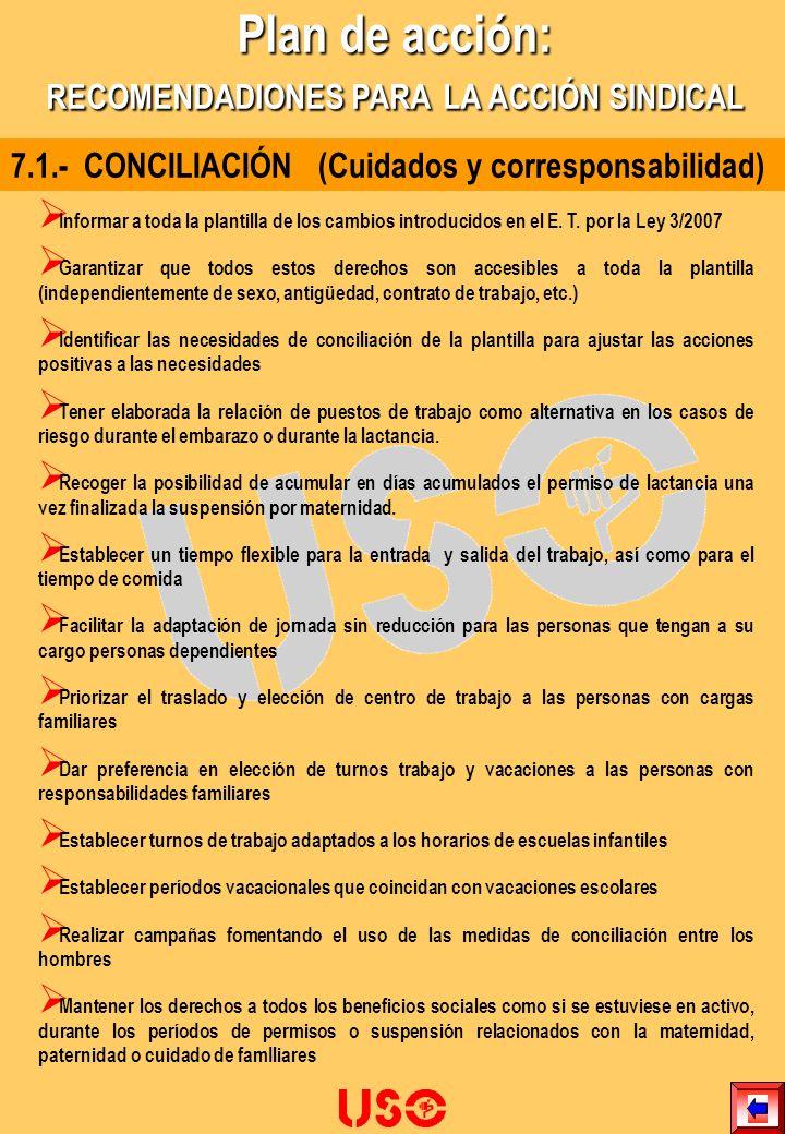 7.1.- CONCILIACIÓN (Cuidados y corresponsabilidad) Informar a toda la plantilla de los cambios introducidos en el E. T. por la Ley 3/2007 Garantizar q