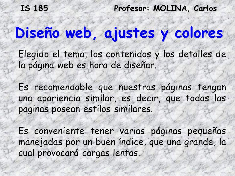 IS 185Profesor: MOLINA, Carlos Diseño web, ajustes y colores Elegido el tema, los contenidos y los detalles de la página web es hora de diseñar. Es re
