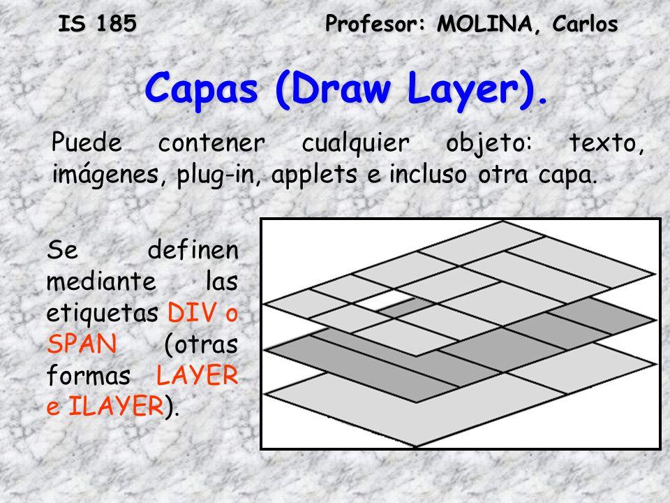 IS 185Profesor: MOLINA, Carlos Capas (Draw Layer). Puede contener cualquier objeto: texto, imágenes, plug-in, applets e incluso otra capa. Se definen