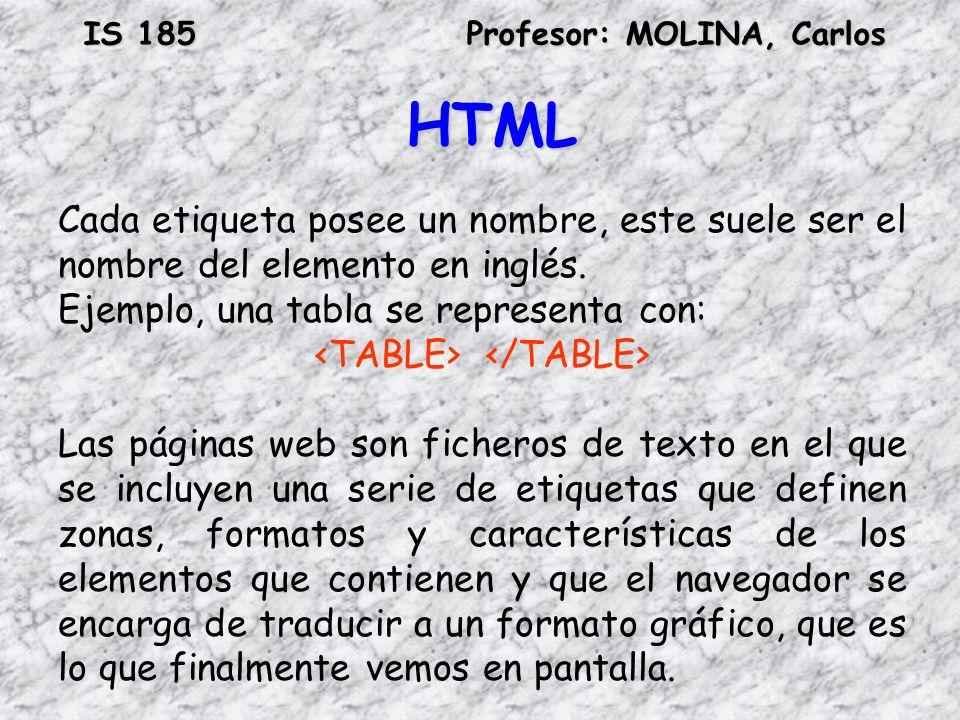 IS 185Profesor: MOLINA, Carlos HTML Cada etiqueta posee un nombre, este suele ser el nombre del elemento en inglés. Ejemplo, una tabla se representa c