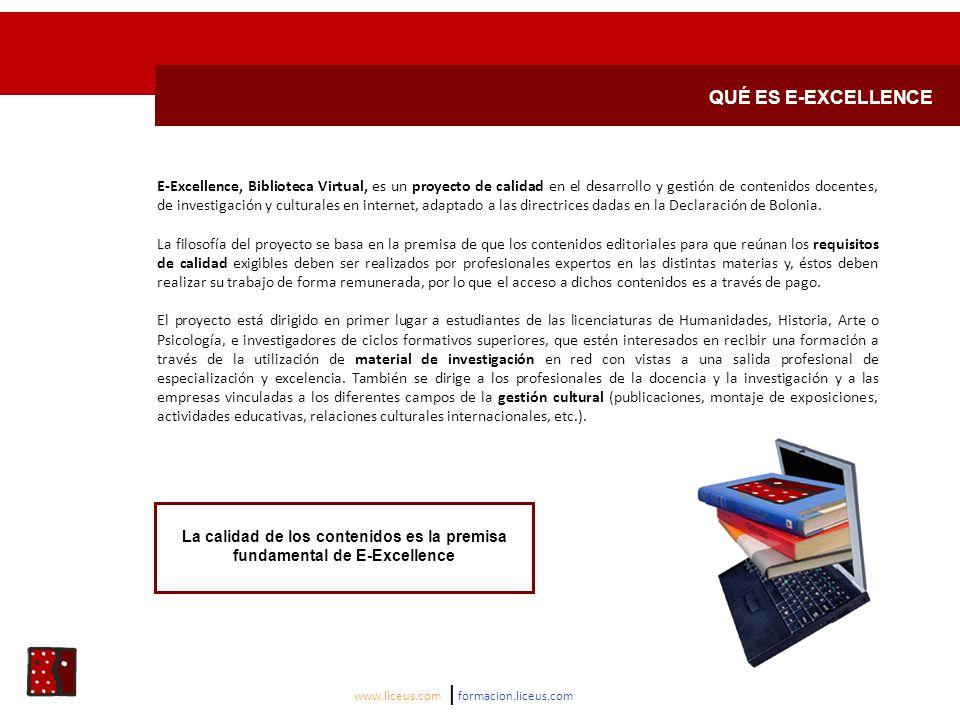 QUÉ ES E-EXCELLENCE E-Excellence, Biblioteca Virtual, es un proyecto de calidad en el desarrollo y gestión de contenidos docentes, de investigación y culturales en internet, adaptado a las directrices dadas en la Declaración de Bolonia.