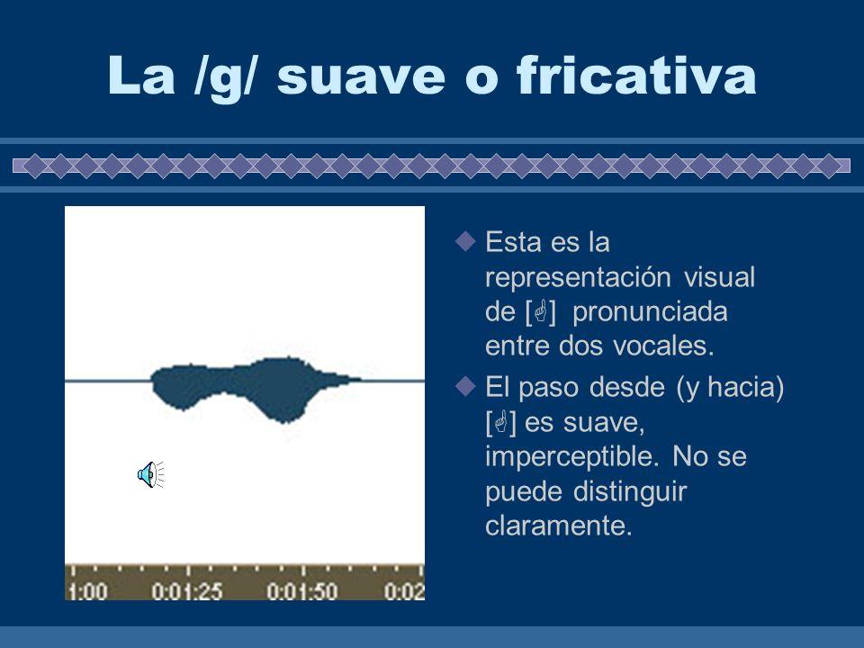 La /g/ fuerte u oclusiva Esta es la representación visual de [g] pronunciada entre dos vocales. El paso desde (y hacia) [g] es abrubto. Se puede ver c
