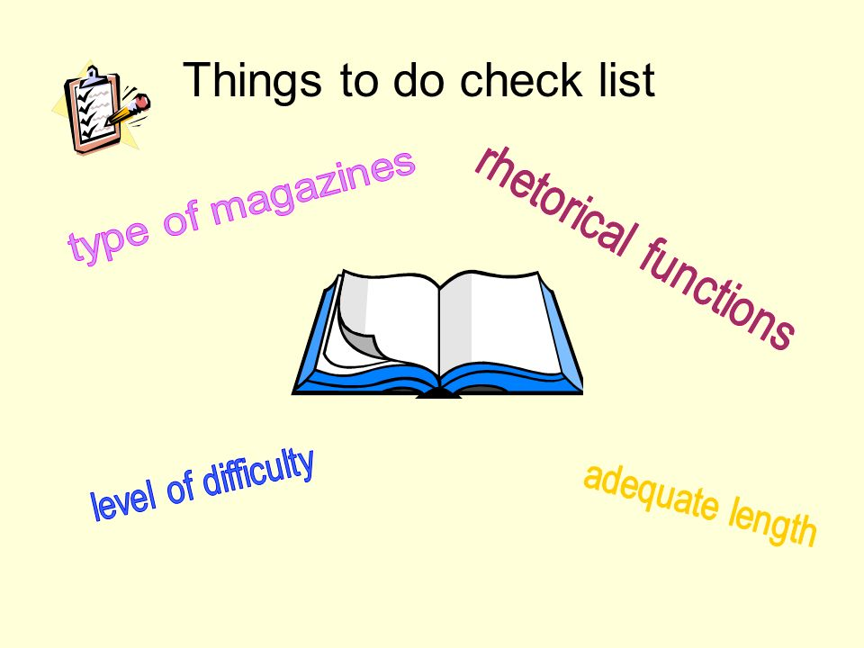 Things to do check list
