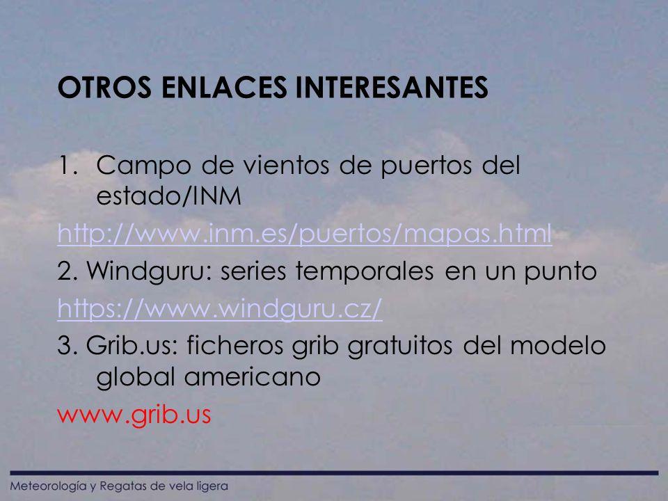 OTROS ENLACES INTERESANTES 1.Campo de vientos de puertos del estado/INM http://www.inm.es/puertos/mapas.html 2.