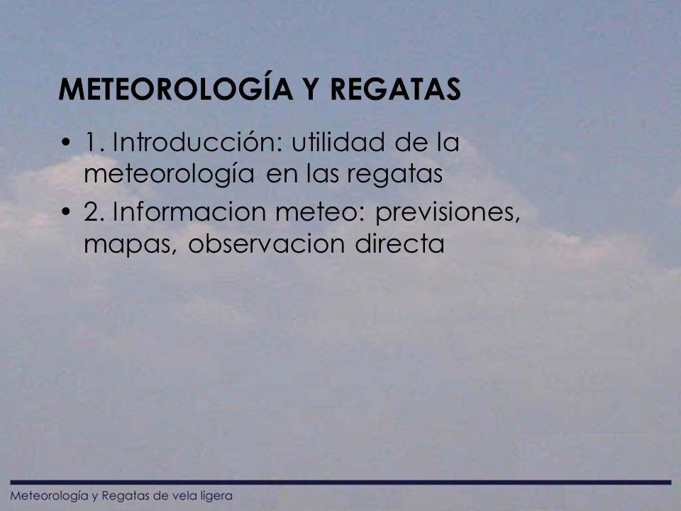 METEOROLOGÍA Y REGATAS 1.Introducción: utilidad de la meteorología en las regatas 2.