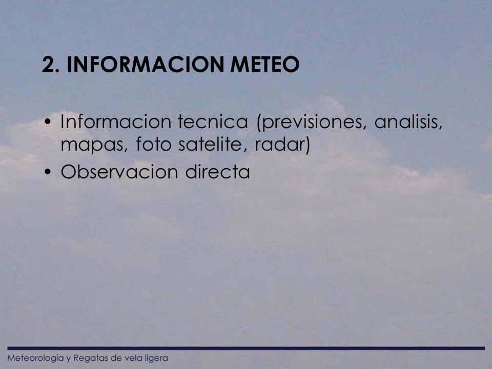 2. INFORMACION METEO Informacion tecnica (previsiones, analisis, mapas, foto satelite, radar) Observacion directa