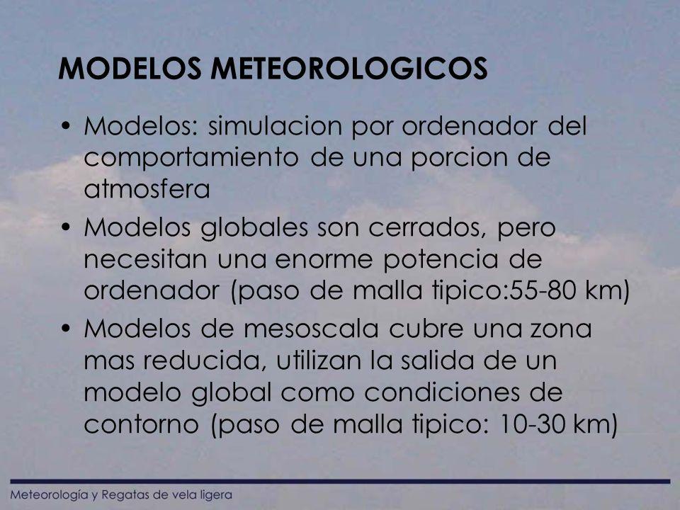 MODELOS METEOROLOGICOS Modelos: simulacion por ordenador del comportamiento de una porcion de atmosfera Modelos globales son cerrados, pero necesitan una enorme potencia de ordenador (paso de malla tipico:55-80 km) Modelos de mesoscala cubre una zona mas reducida, utilizan la salida de un modelo global como condiciones de contorno (paso de malla tipico: 10-30 km)