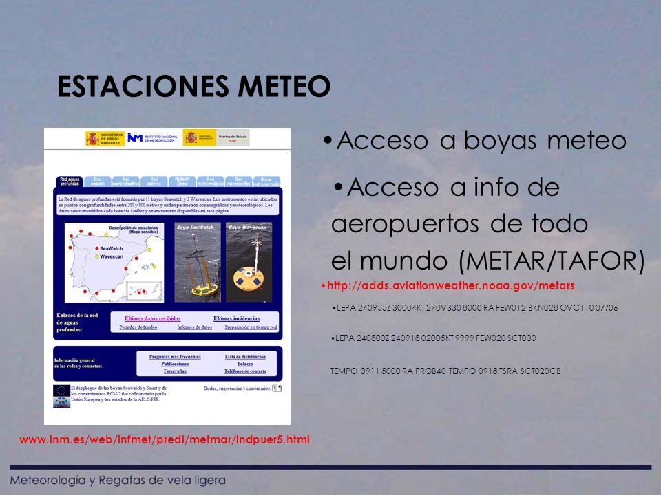 ESTACIONES METEO Acceso a boyas meteo Acceso a info de aeropuertos de todo el mundo (METAR/TAFOR) LEPA 240955Z 30004KT 270V330 8000 RA FEW012 BKN028 OVC110 07/06 LEPA 240800Z 240918 02005KT 9999 FEW020 SCT030 TEMPO 0911 5000 RA PROB40 TEMPO 0918 TSRA SCT020CB www.inm.es/web/infmet/predi/metmar/indpuer5.html http://adds.aviationweather.noaa.gov/metars
