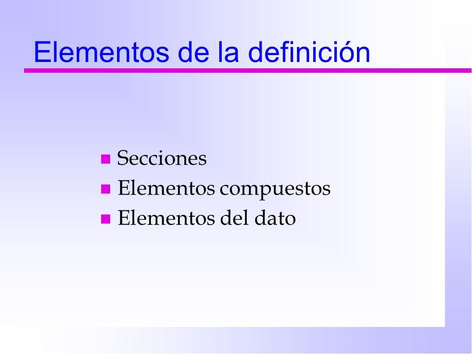 Elementos de la definición n Secciones n Elementos compuestos n Elementos del dato