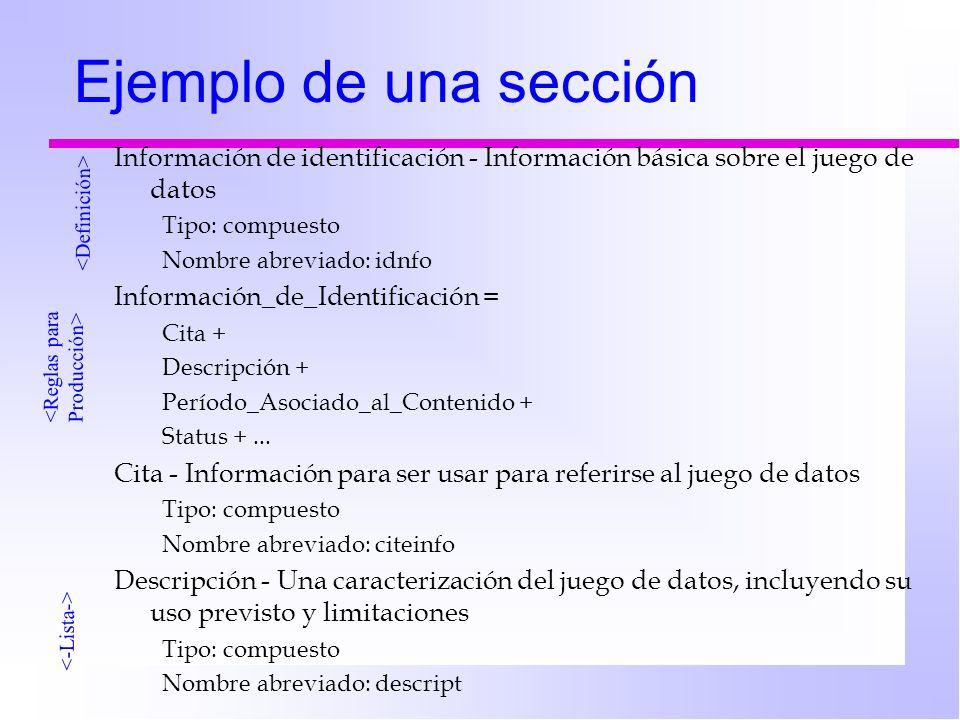 Ejemplo de una sección Información de identificación - Información básica sobre el juego de datos Tipo: compuesto Nombre abreviado: idnfo Información_de_Identificación = Cita + Descripción + Período_Asociado_al_Contenido + Status +...
