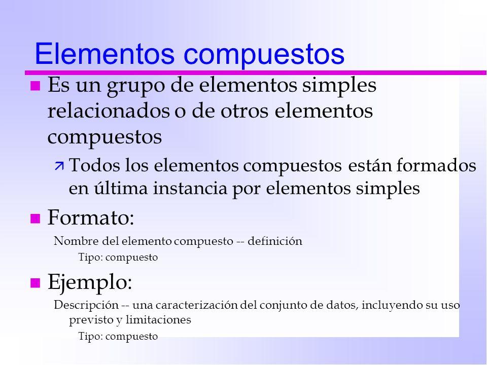 Elementos compuestos n Es un grupo de elementos simples relacionados o de otros elementos compuestos ä Todos los elementos compuestos están formados en última instancia por elementos simples n Formato: Nombre del elemento compuesto -- definición Tipo: compuesto n Ejemplo: Descripción -- una caracterización del conjunto de datos, incluyendo su uso previsto y limitaciones Tipo: compuesto