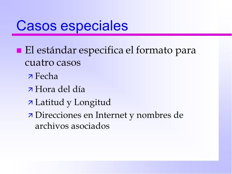 Casos especiales n El estándar especifica el formato para cuatro casos ä Fecha ä Hora del día ä Latitud y Longitud ä Direcciones en Internet y nombres de archivos asociados