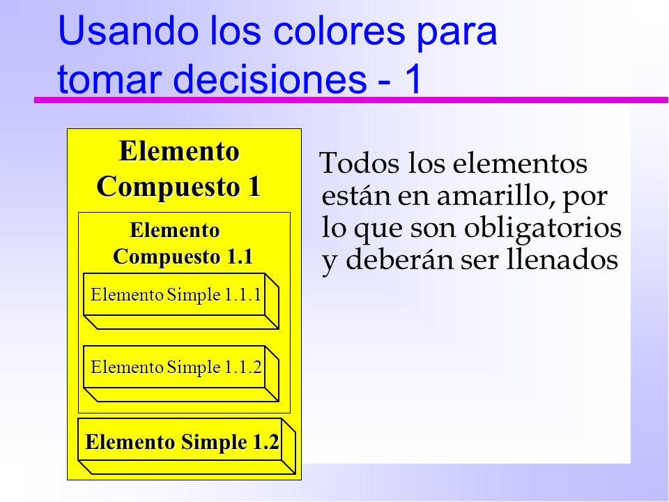 Usando los colores para tomar decisiones - 1 Todos los elementos están en amarillo, por lo que son obligatorios y deberán ser llenados Elemento Simple 1.1.1 Elemento Compuesto 1.1 Elemento Compuesto 1.1 Elemento Compuesto 1 Elemento Compuesto 1 Elemento Simple 1.1.2 Elemento Simple 1.2 Elemento Simple 1.2