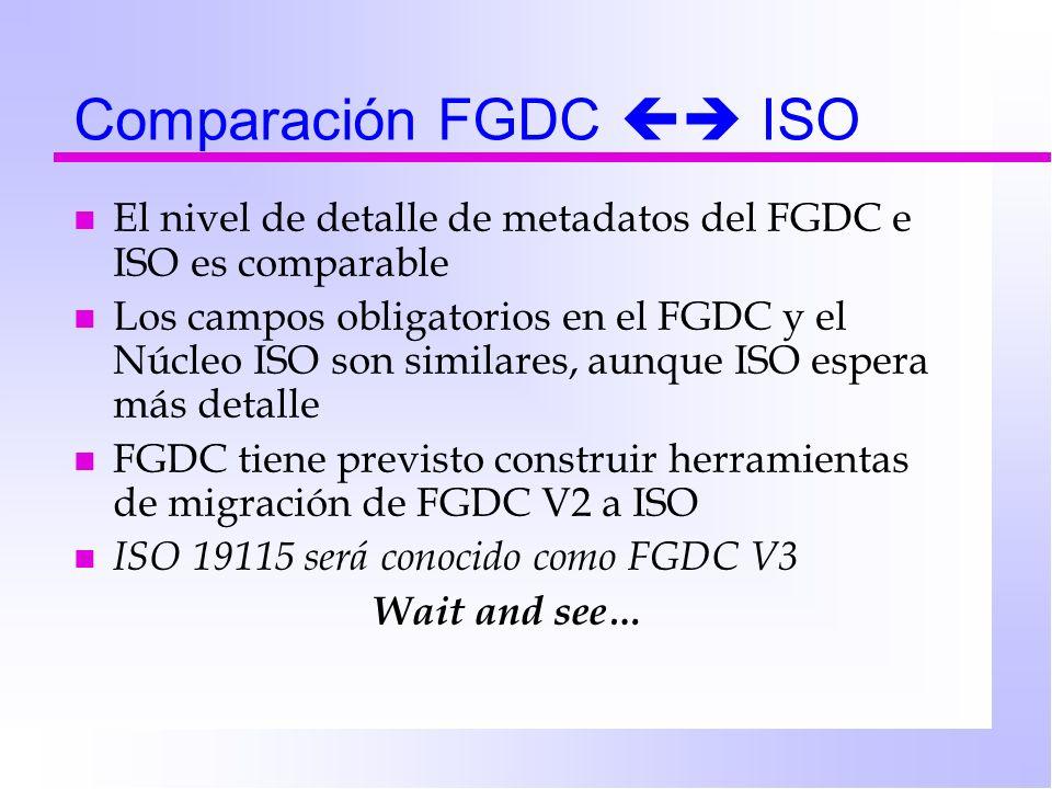 Comparación FGDC ISO n El nivel de detalle de metadatos del FGDC e ISO es comparable n Los campos obligatorios en el FGDC y el Núcleo ISO son similares, aunque ISO espera más detalle n FGDC tiene previsto construir herramientas de migración de FGDC V2 a ISO n ISO 19115 será conocido como FGDC V3 Wait and see…