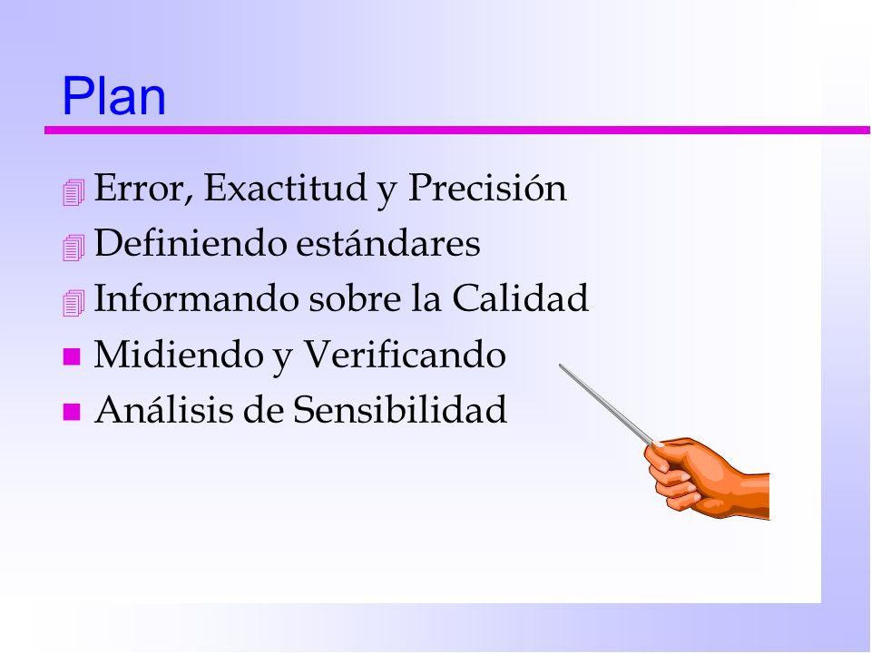 Plan 4 Error, Exactitud y Precisión 4 Definiendo estándares 4 Informando sobre la Calidad n Midiendo y Verificando n Análisis de Sensibilidad