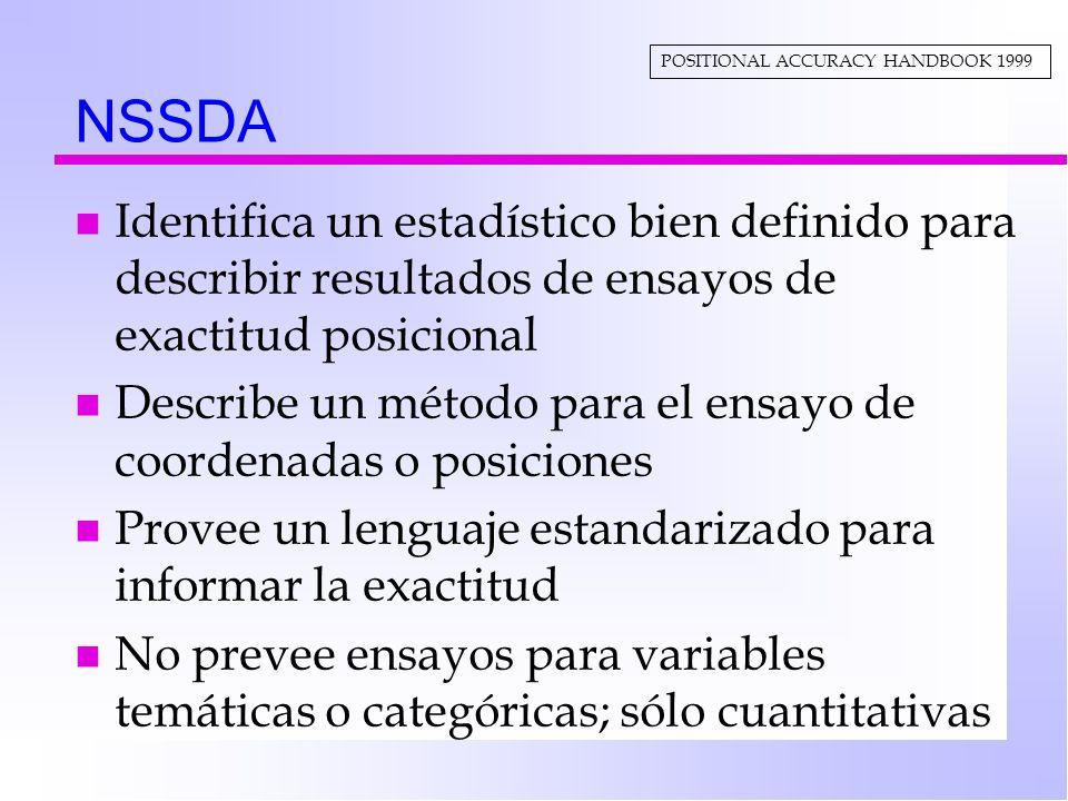NSSDA n Identifica un estadístico bien definido para describir resultados de ensayos de exactitud posicional n Describe un método para el ensayo de co