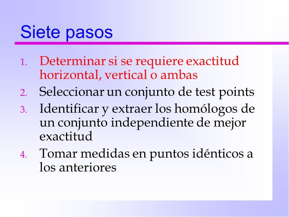 Siete pasos 1.Determinar si se requiere exactitud horizontal, vertical o ambas 2.