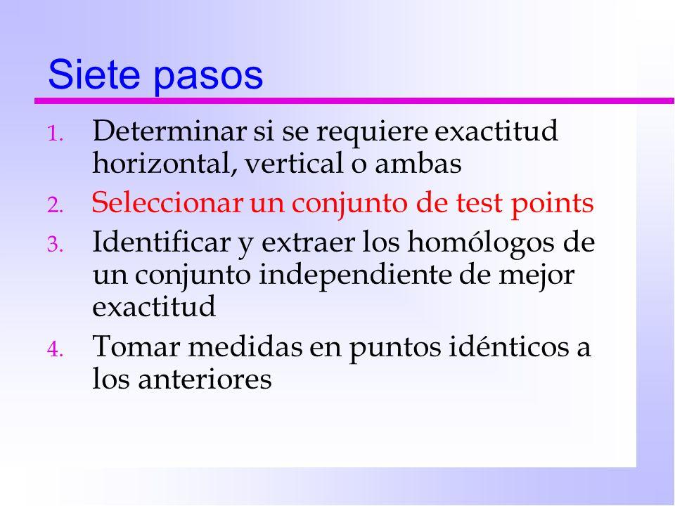 Siete pasos 1. Determinar si se requiere exactitud horizontal, vertical o ambas 2. Seleccionar un conjunto de test points 3. Identificar y extraer los