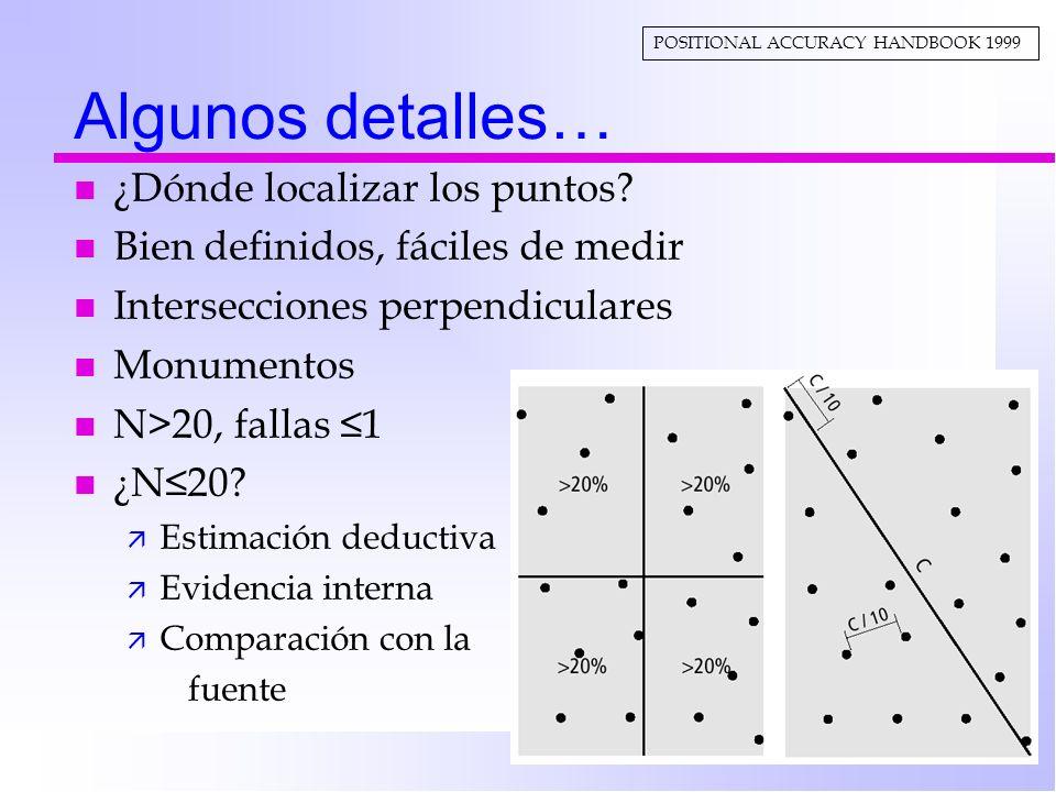 Algunos detalles… n ¿Dónde localizar los puntos? n Bien definidos, fáciles de medir n Intersecciones perpendiculares n Monumentos n N>20, fallas 1 n ¿