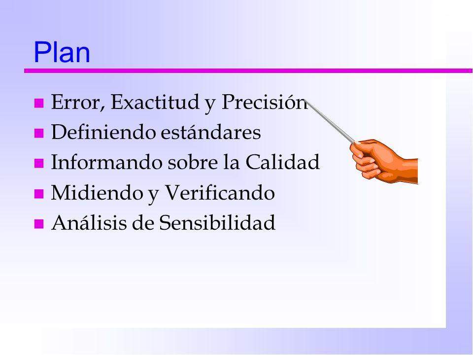 Plan n Error, Exactitud y Precisión n Definiendo estándares n Informando sobre la Calidad n Midiendo y Verificando n Análisis de Sensibilidad