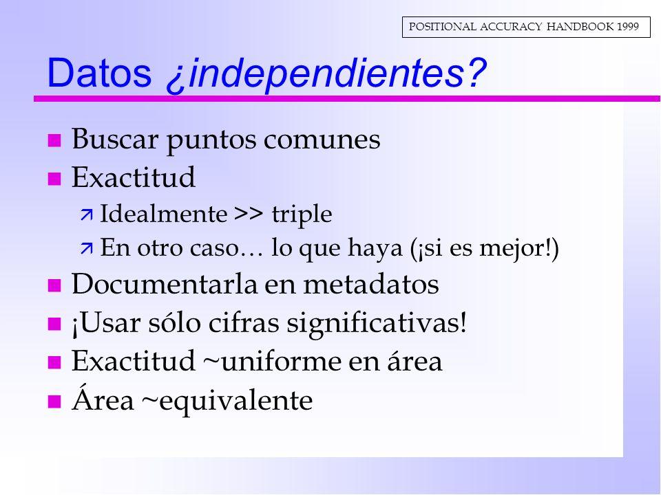 Datos ¿independientes? n Buscar puntos comunes n Exactitud ä Idealmente >> triple ä En otro caso… lo que haya (¡si es mejor!) n Documentarla en metada