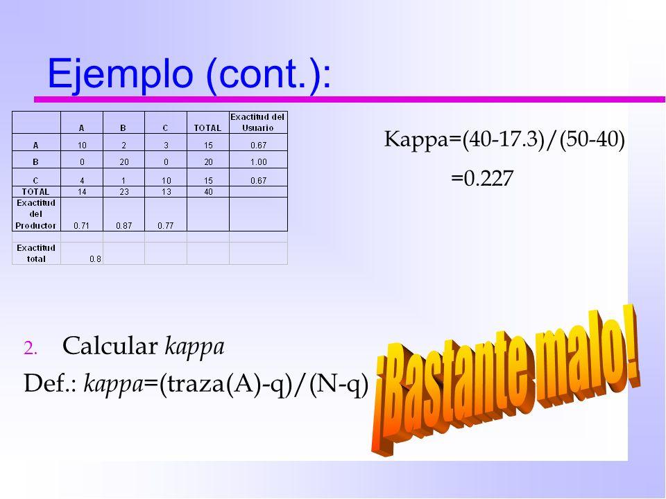 Ejemplo (cont.): 2. Calcular kappa Def.: kappa= (traza(A)-q)/(N-q) Kappa=(40-17.3)/(50-40) =0.227