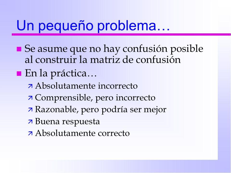 Un pequeño problema… n Se asume que no hay confusión posible al construir la matriz de confusión n En la práctica… ä Absolutamente incorrecto ä Compre
