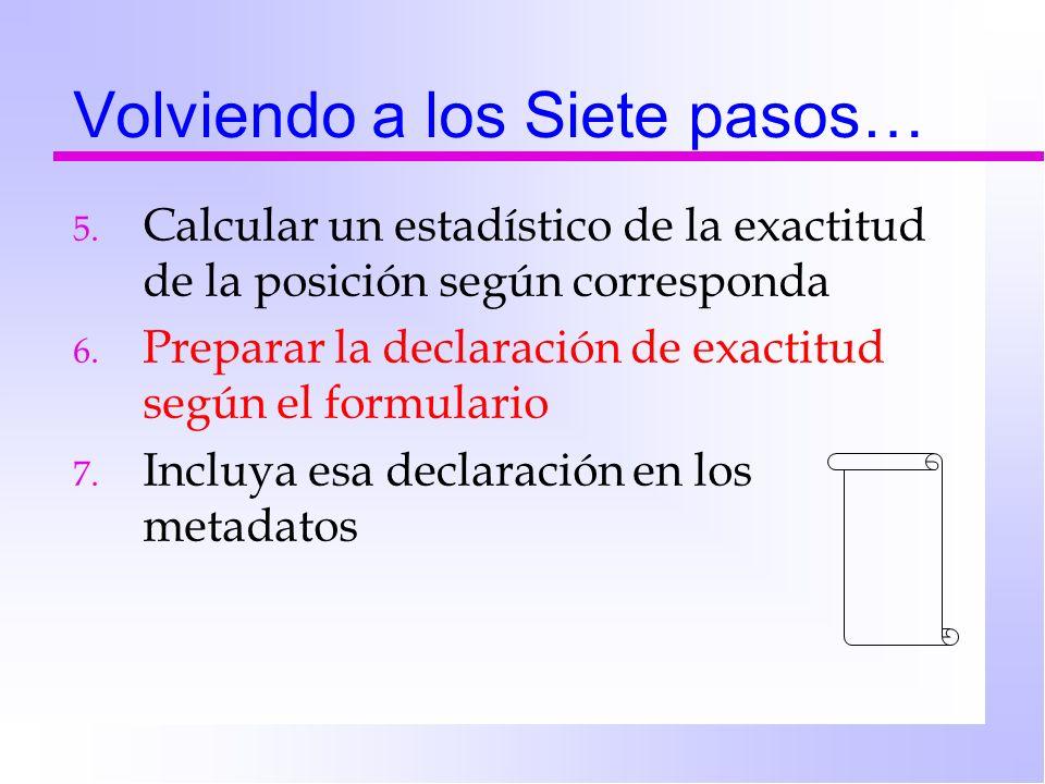 Volviendo a los Siete pasos… 5. Calcular un estadístico de la exactitud de la posición según corresponda 6. Preparar la declaración de exactitud según