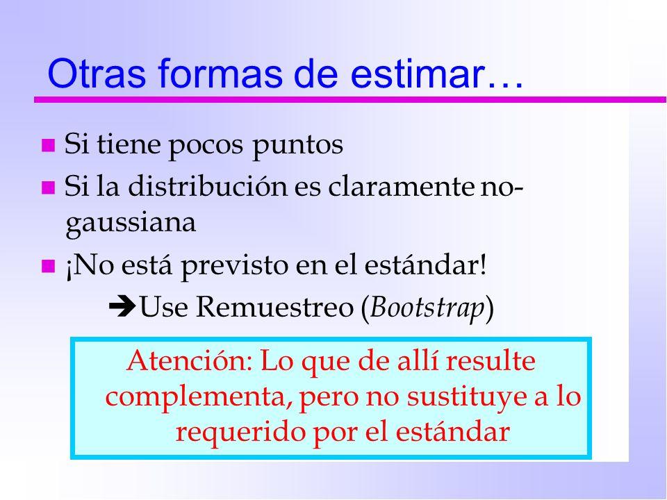 Otras formas de estimar… n Si tiene pocos puntos n Si la distribución es claramente no- gaussiana n ¡No está previsto en el estándar! Use Remuestreo (