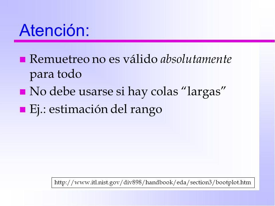 Atención: n Remuetreo no es válido absolutamente para todo n No debe usarse si hay colas largas n Ej.: estimación del rango http://www.itl.nist.gov/di
