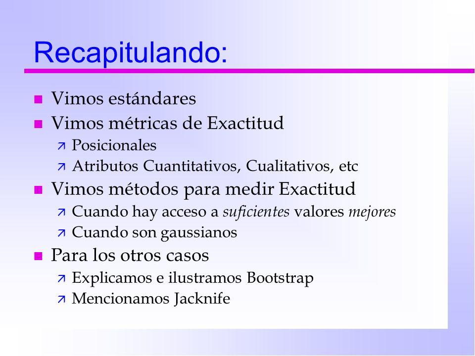 Recapitulando: n Vimos estándares n Vimos métricas de Exactitud ä Posicionales ä Atributos Cuantitativos, Cualitativos, etc n Vimos métodos para medir