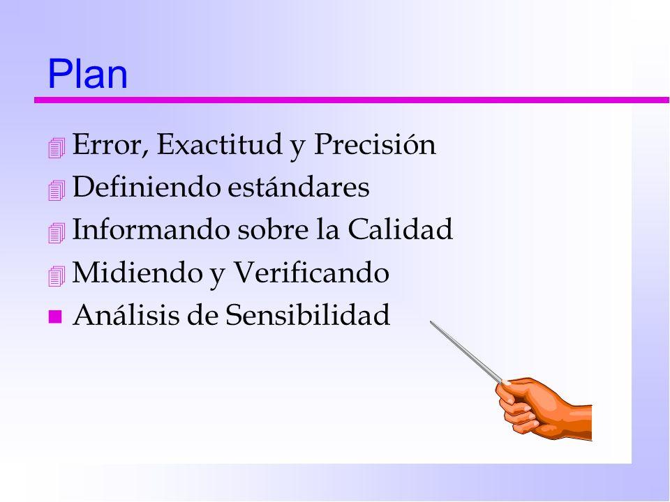 Plan 4 Error, Exactitud y Precisión 4 Definiendo estándares 4 Informando sobre la Calidad 4 Midiendo y Verificando n Análisis de Sensibilidad