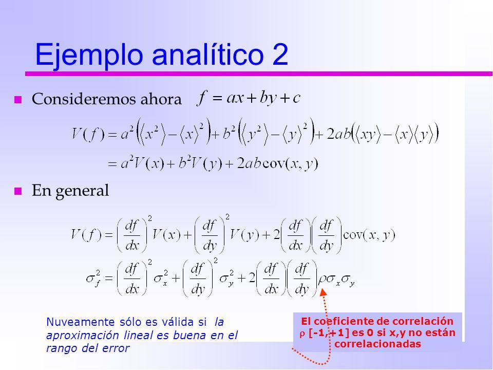 Ejemplo analítico 2 n Consideremos ahora Nuveamente sólo es válida si la aproximación lineal es buena en el rango del error El coeficiente de correlac